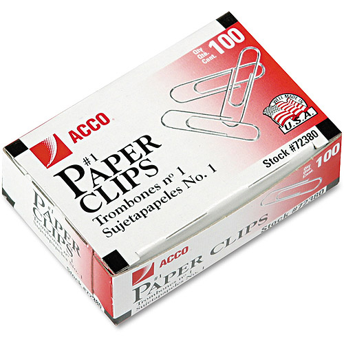 ACCO Smooth Economy Paper Clips, Steel Wire, No. 1, Silver, 100 Clips Per Box, 10 Boxes Per Pack