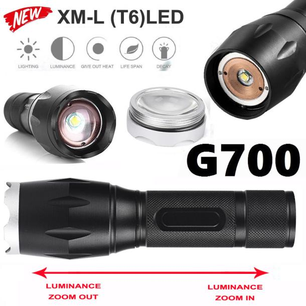 G700 X800 LED Tactical Military Cree XM-L T9 Flashlight Torch Waterproof Zoom