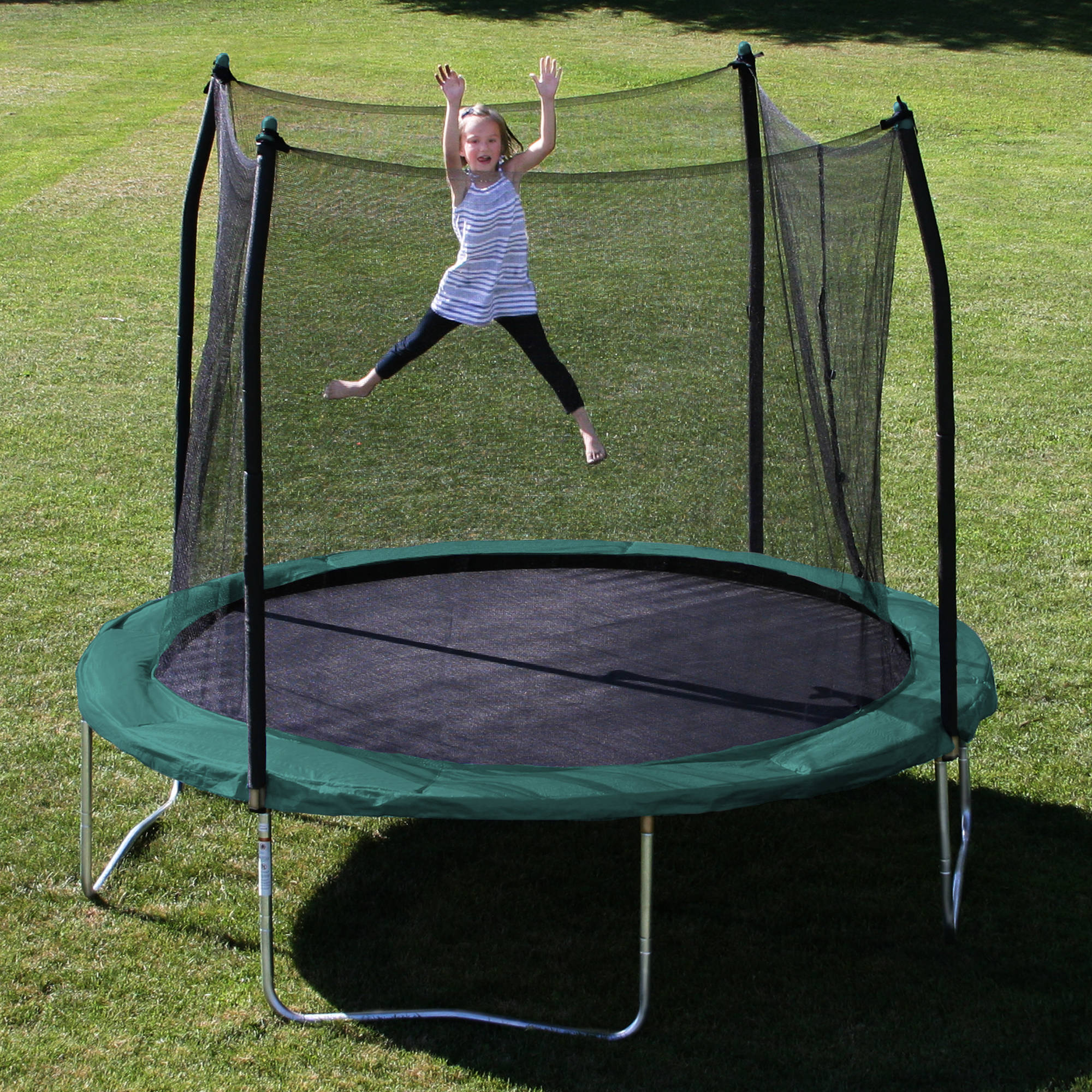 Skywalker Trampolines 10' Round Trampoline and Safety Enclosure with Green Spring Pad