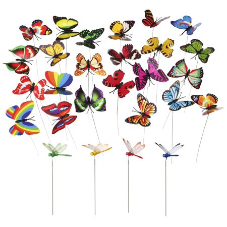 Mini Garden Stake - MINI-FACTORY 24 PCS Butterfly & Dragonfly Stakes Outdoor Yard Garden Flower Pot Decoration