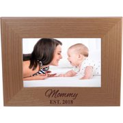 Mommy EST. 2018 4-inch x 6-Inch Wood Picture Frame