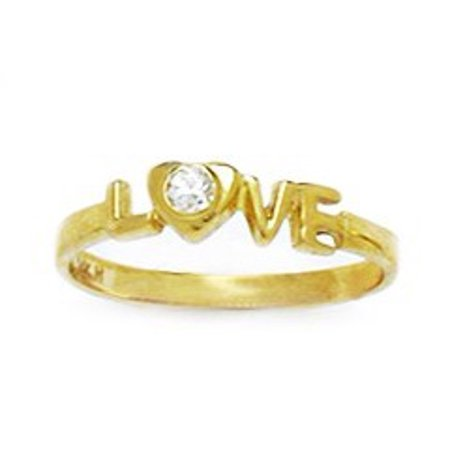 Gold Love Ring - 14k Yellow Gold Cubic Zirconia Size 3 Love Childrens Baby Ring