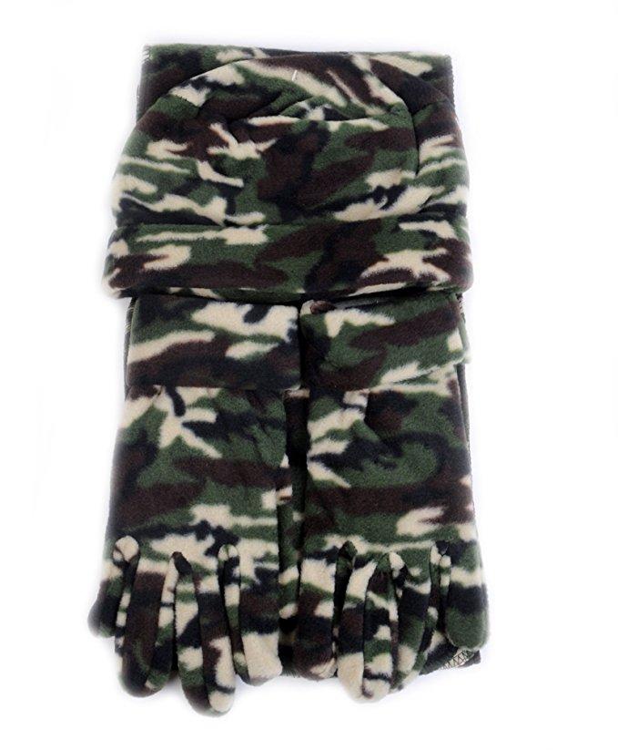 Mixed Style 3 Piece Fleece Hat Scarf /& Glove Womens Winter Set