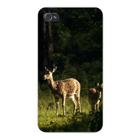 Apple Iphone Custom Case 4 4s Snap on - Mother Deer Doe w/ Fawn Wandering in Woods