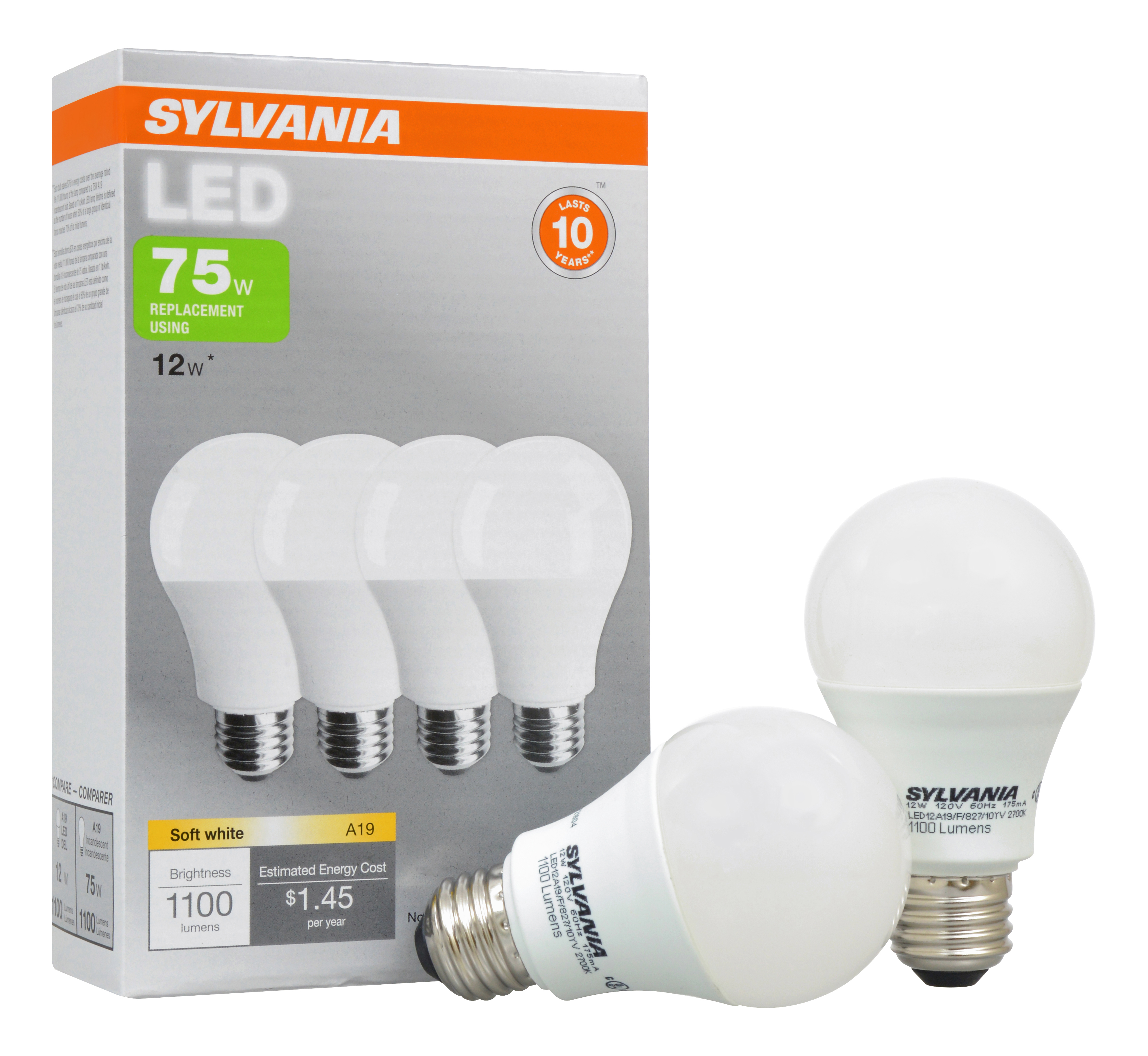Sylvania LED Light Bulbs, 12W (75W Equivalent), Soft White, 4-count