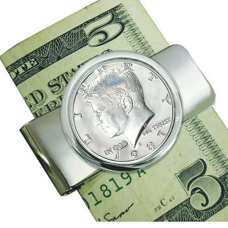 Proof JFK Half Dollar Silvertone Coin Money Clip Dollar Coin Money Clip