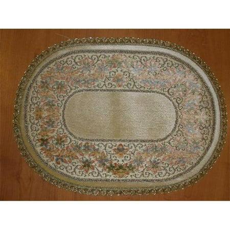 Tapestry Trading R1422 14 x 20 in. Begium Doily Ruben Runner, Gold - Gold Doilies