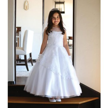 Big Girls White Detailed Mesh Communion Dress 12