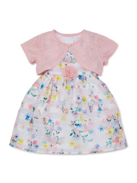 Wonder Nation Baby Toddler Girl Easter Floral Dress with Shrug