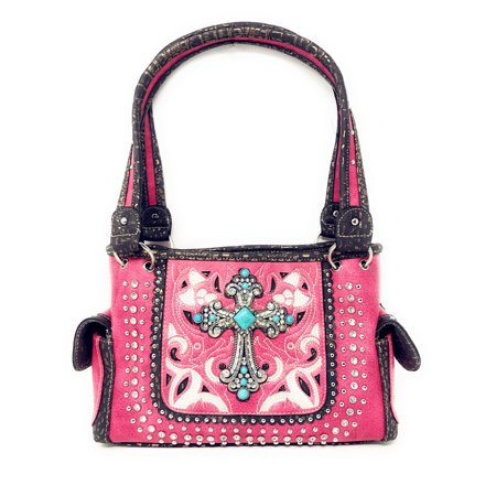 Texas West Concealed Carry Rhinestone Flora Embroidery Laser Cut Stone Cross Handbag Purse In Multi Colors ()