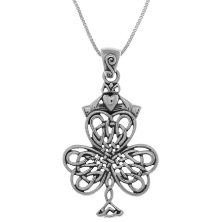 Sterling Silver Celtic Knotwork Shamrock & Irish Claddagh Pendant on 18 Inch Box Chain Necklace ()