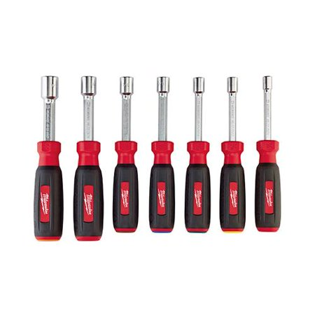 MILWAUKEE ELEC TOOL SAE Nut Driver Set, Hollow Core, Magnetic, 7-Pc.