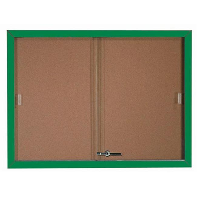 Aarco Products SBC3648G Enclosed Bulletin Board Cork with Aluminum Frame - Green