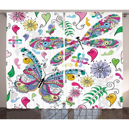 Butterfly Curtains 2 Panels Set, Butterfly and Dragonfly Paisley ...