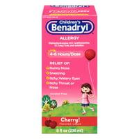 Benadryl Childrens Allergy Reilef Liquid, Cherry - 8 Oz