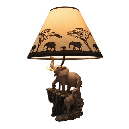 Elephants on expedition sculptural table lamp w decorative shade