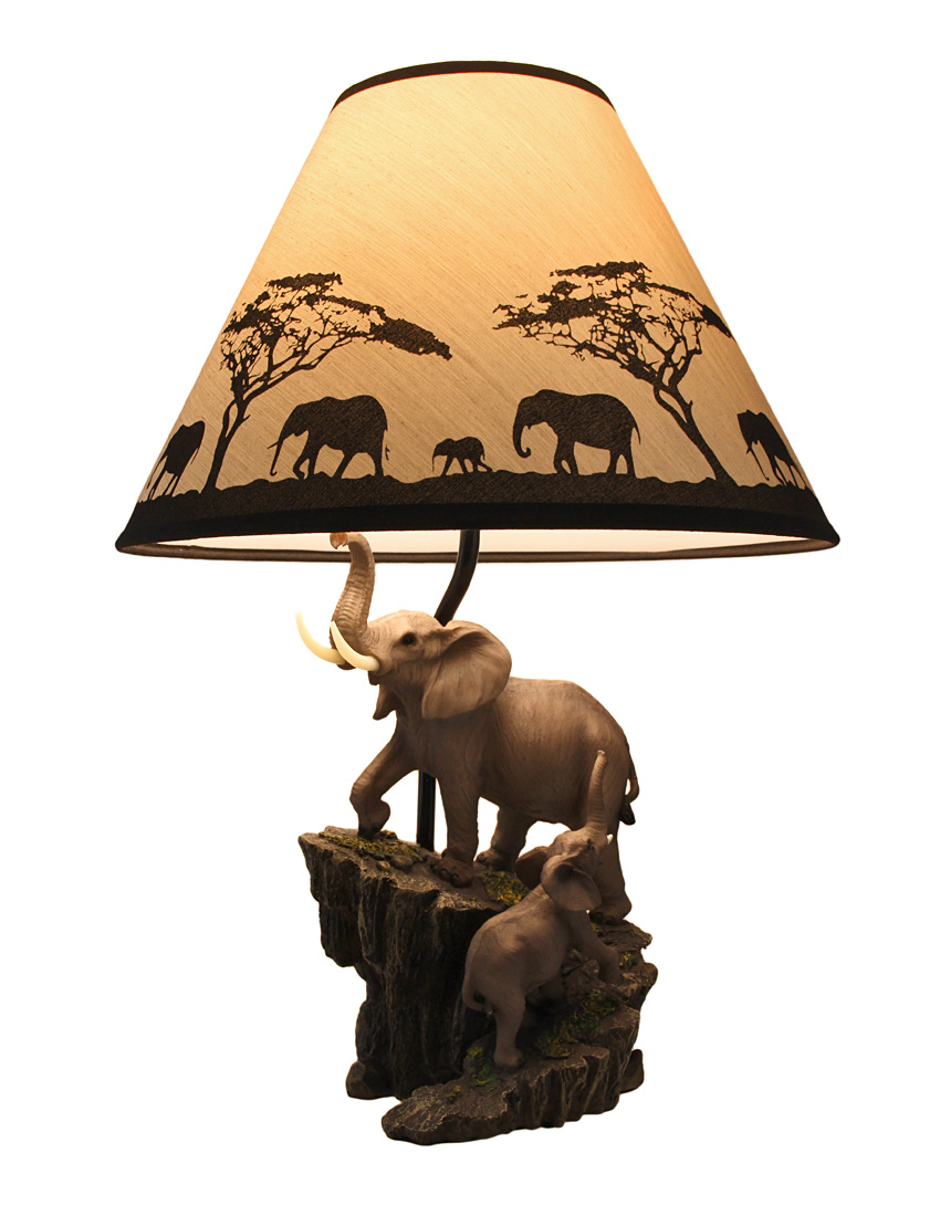 Amazing Elephants On Expedition Sculptural Table Lamp W/Decorative Shade