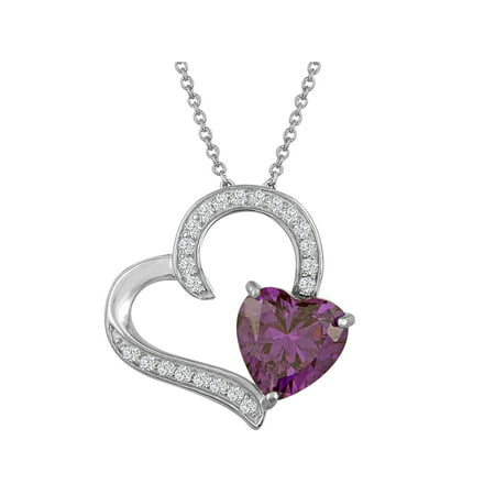 Sterling Silver Plated Simulated Amethyst with CZ Accents Heart Pendant, 18