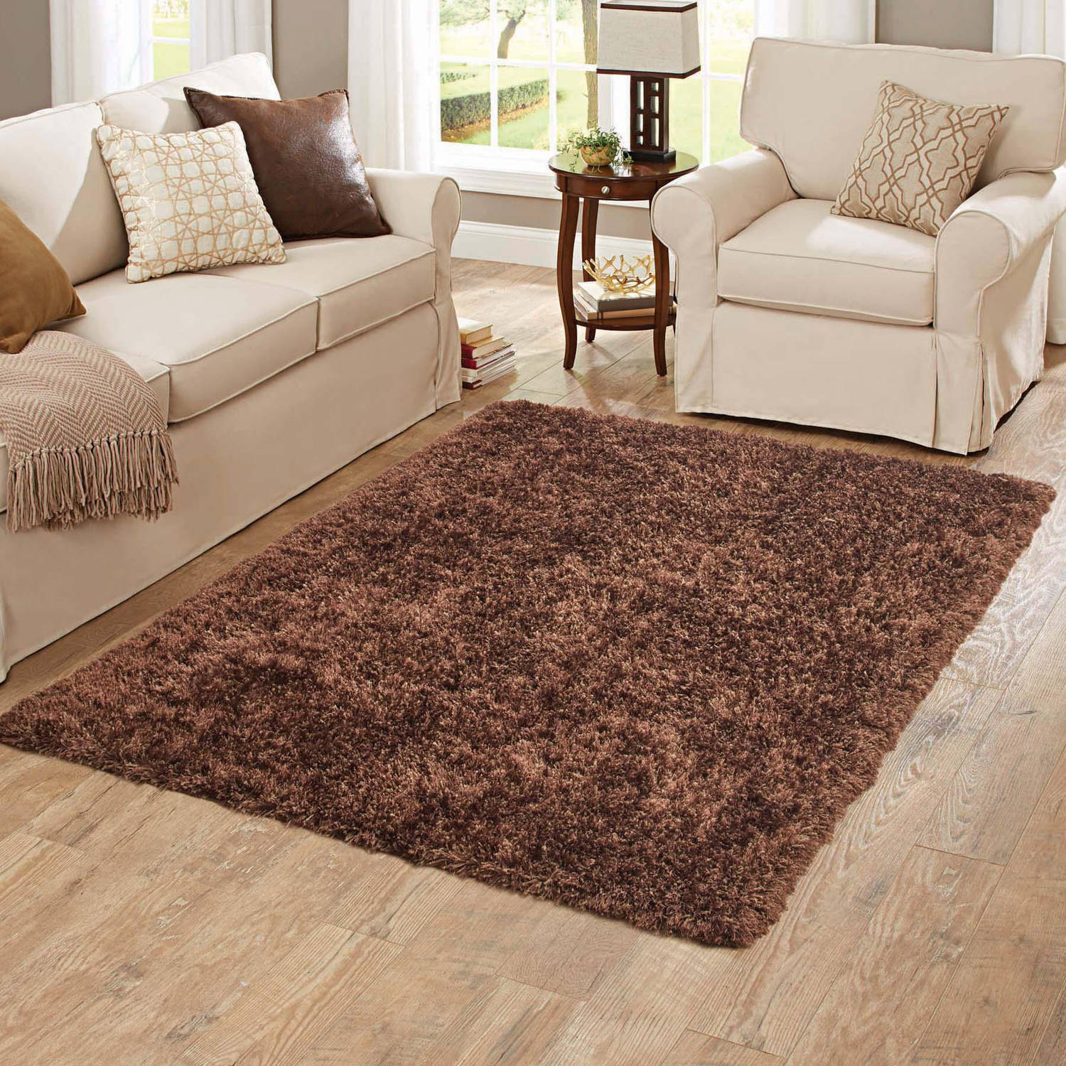 Better Homes and Gardens Brown Plush Shag Polyester Rug, Brown