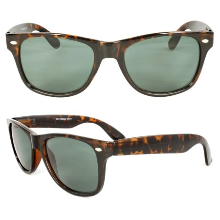 Stylish Retro Horn Rimmed Sunglasses Brown leopard Frame Smoke Lenses for Women and Men