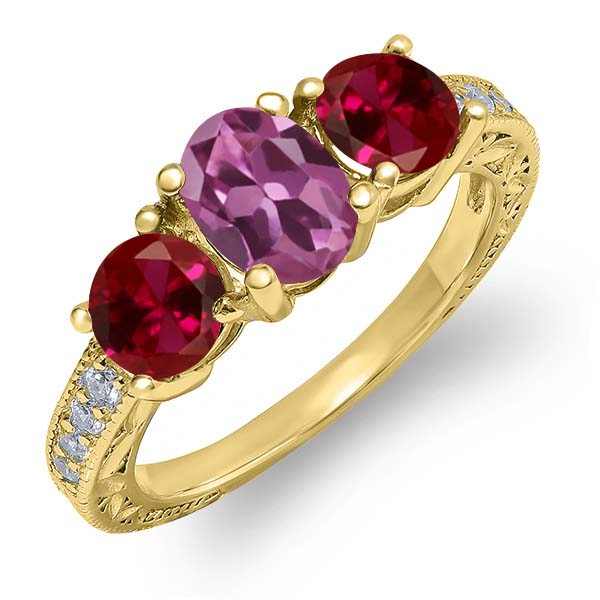 2.17 Ct Oval Pink Tourmaline Red Created Ruby 18K Yellow Gold Ring by