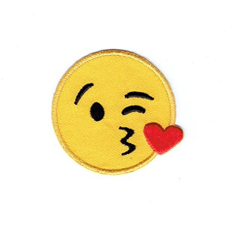 Smiley Face Emoji Blowing Kiss on Cheek - Iron on Applique - Embroidered Patch