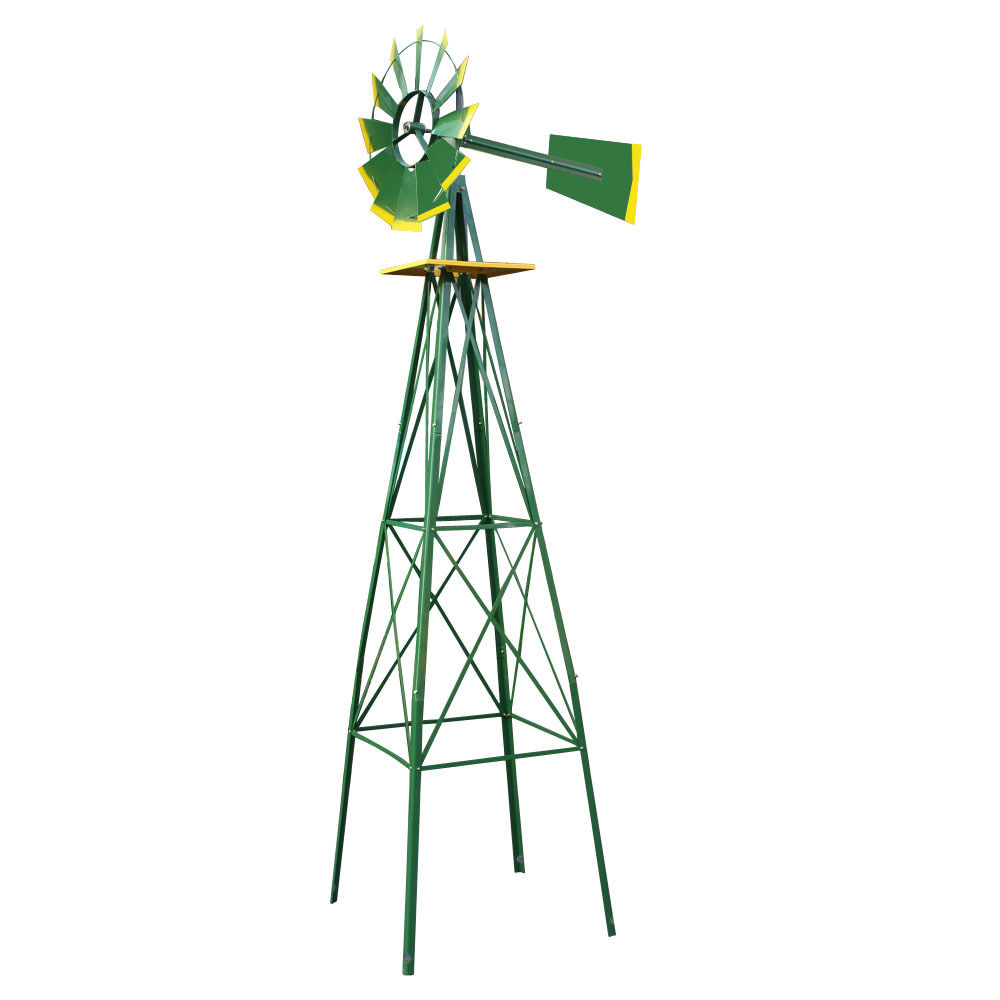 UBRTools 8FT Green Metal Windmill Yard Garden Decoration Weather Rust Resistant Wind Mill by UBRTools