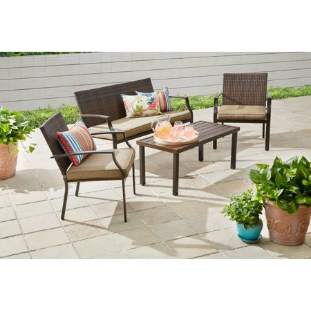 Better Homes And Gardens Boxford 4 Piece Wicker Stacking Conversation Set With Fabric Cover