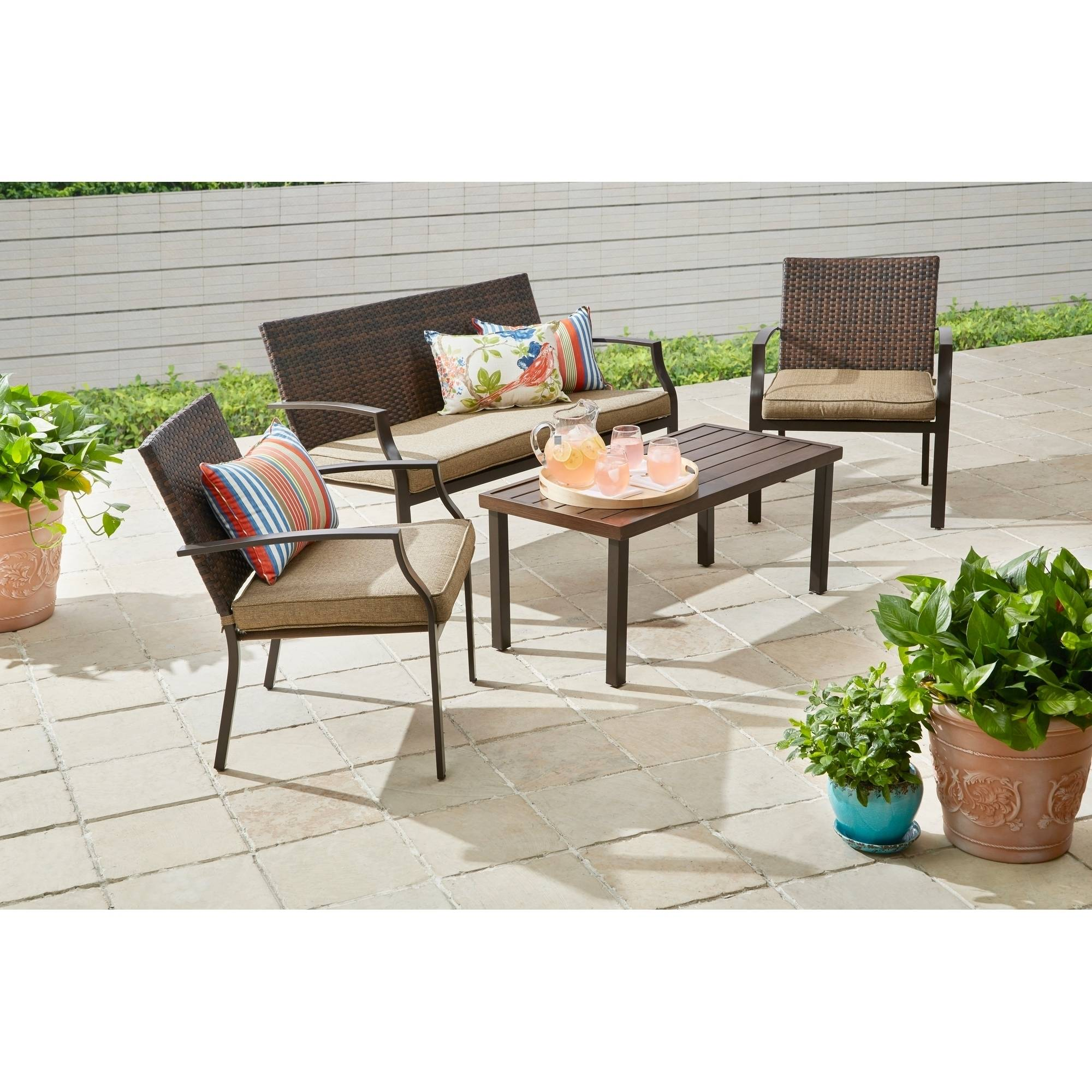 Better Homes & Gardens Boxford 4 Piece Wicker Stacking Conversation Set with Fabric Cover