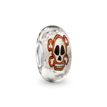 Bling Jewelry Glow in the Dark Skull Murano Bead Charm Sterling - Glow In The Dark Plastic Beads