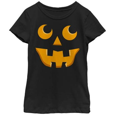 Girls' Halloween Jack-o'-Lantern Toothy Grin T-Shirt
