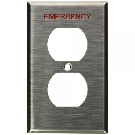 Leviton 84003-E40 1-Gang Duplex Device Receptacle Wallplate, Device Mount, Engraved Emergency, Stainless (Engraved Wall Plate)