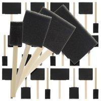 US Art Supply Variety Pack Foam Sponge Wood Handle Paint Brush Set (Value Pack of 20 Brushes) - Lightweight, durable