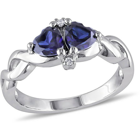 Tangelo 1-1/8 Carat T.G.W. Created Blue Sapphire and Diamond-Accent Sterling Silver Heart Engagement Ring