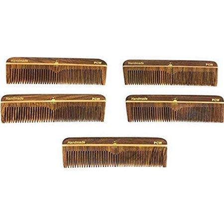 Gbs Professional Mens Pocket Comb 5 Wood Coarse Fine Tooth Unbreakable Comb For Hair Beard And Everyday Use Pack Of 5 Use Wet Or Dry