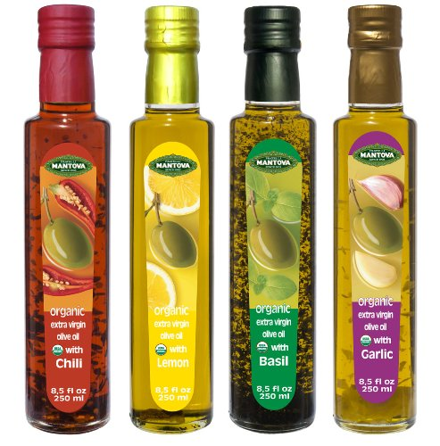 Mantova Garlic,Basil,Chili,Lemon Organic Extra Virgin Olive Oil, 8.5-Ounce Bottles (Pack of 4)