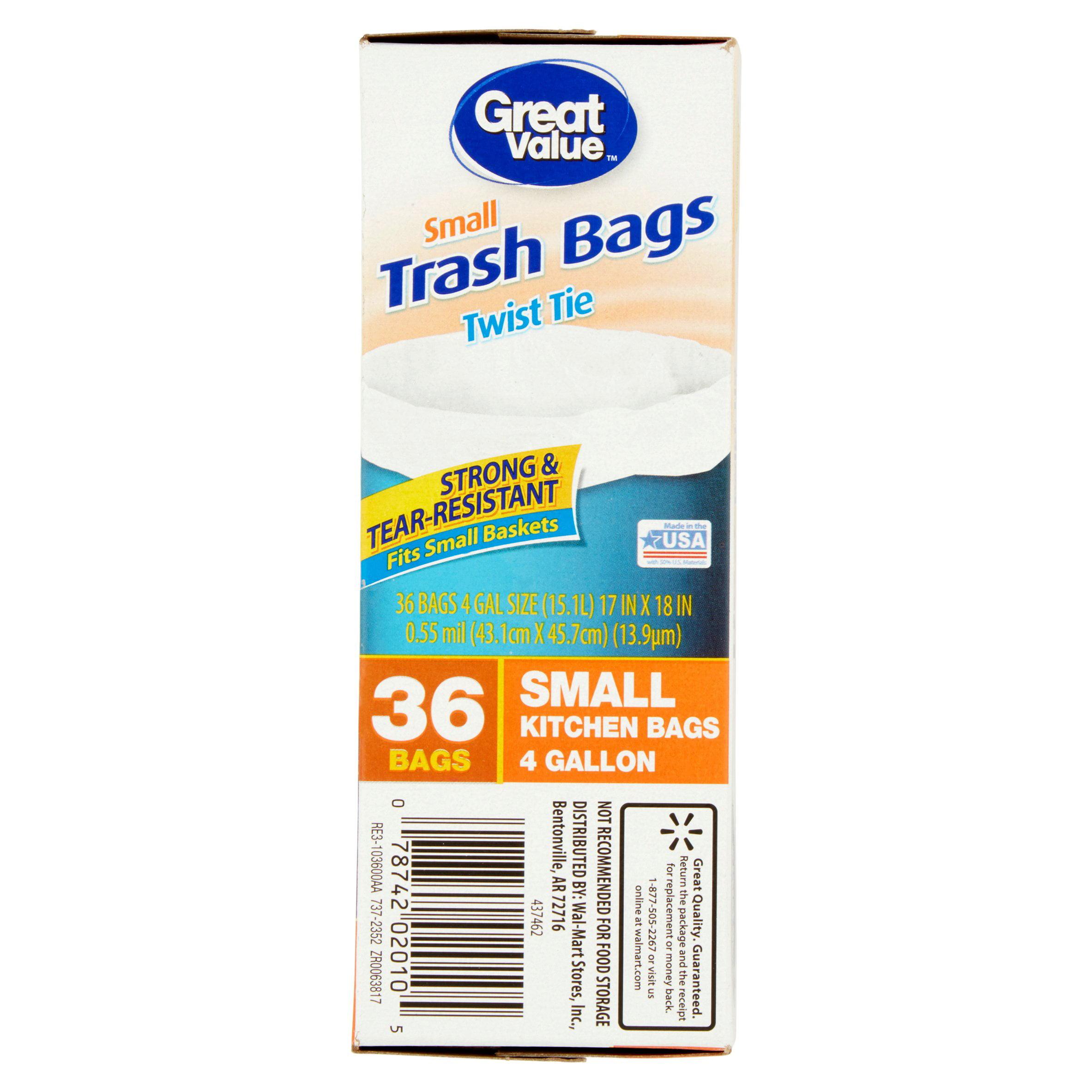 Great Value Twist Tie Small Kitchen Bags 4 Gallon 36 Ct