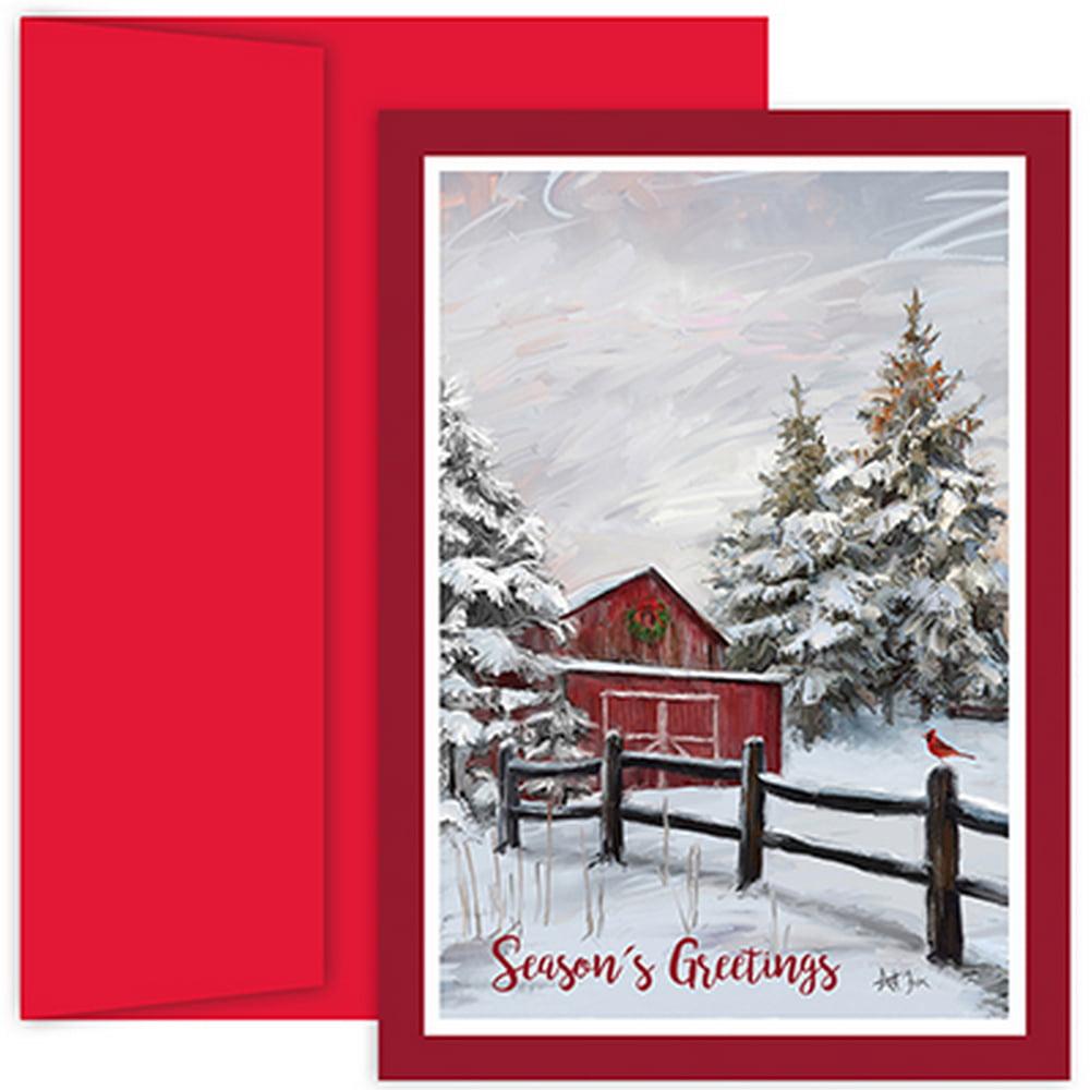 JAM Paper® Christmas Card Set, Winter Barn, 18/Pack