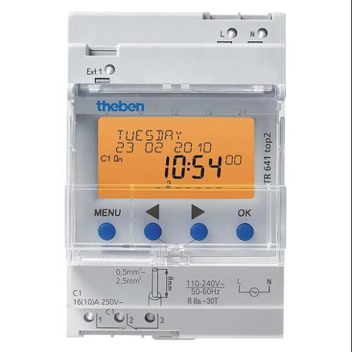 THEBEN TR-641-TOP-2-RC-12/24V Electr Timer,Din Rail,365 Day,Astro,1Chn G8496485