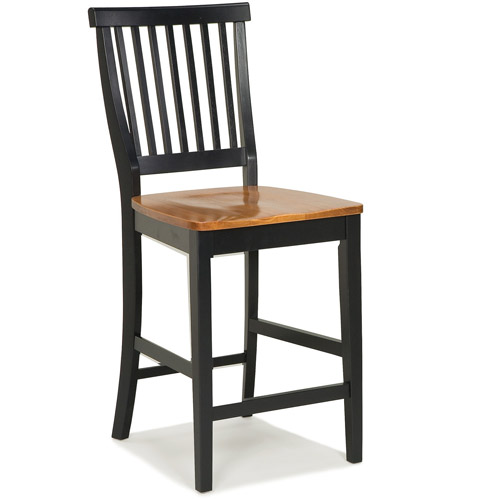 "Home Styles Wood Counter Stool 24"", Black and Cottage Oak"