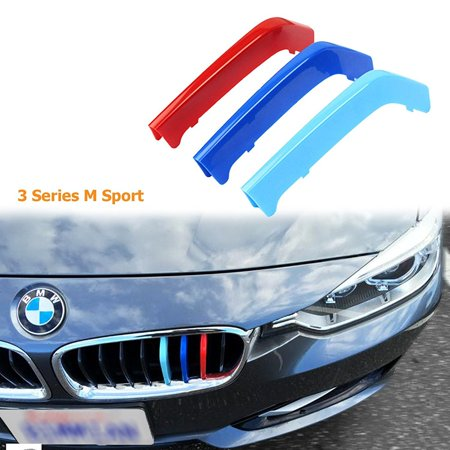 Xotic Tech 1 set M-Colored Kidney Grille Insert Trim Décor TRI Color M Sport Strips Fit BMW 3 Series M-Performance Black Grills F30 F31 (8 Beam Bars)