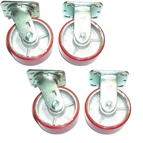 """Set of 4 Plate Casters Red Polyurethane on Steel 5"""" x 2"""" Wheel 6 1/2"""" Tall Stem"""