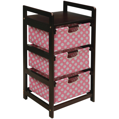 Badger Basket 3-Drawer Hamper/Storage Unit, Espresso Finish with Pink Polka Dot Print Drawers