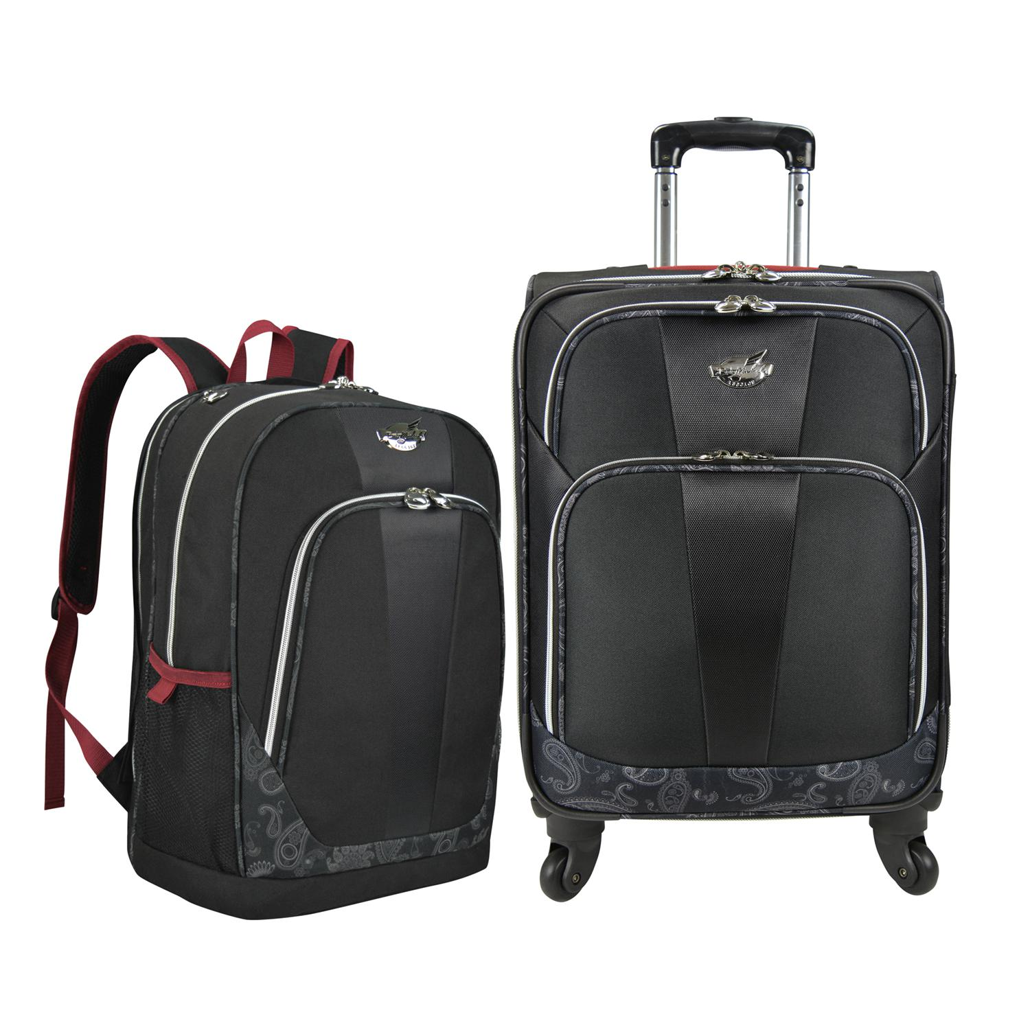 Bret Michaels Classic Road 2 Piece Carry-On Luggage and Laptop Backpack Set