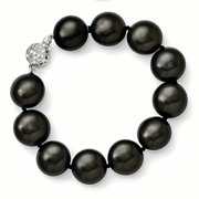 Sterling Silver 14-15mm Coin Black Shell Bead w/CZ Clasp Bracelet