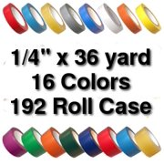 Vinyl Marking Tape 1/4 inch x 36 yard (192 Roll Case) - Emerald Green