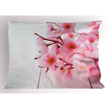 Floral Pillow Sham Cherry Blossom Petals Spring Season Florets in Soft Pastel Tones Art Print, Decorative Standard Size Printed Pillowcase, 26 X 20 Inches, Pale Pink White, by Ambesonne