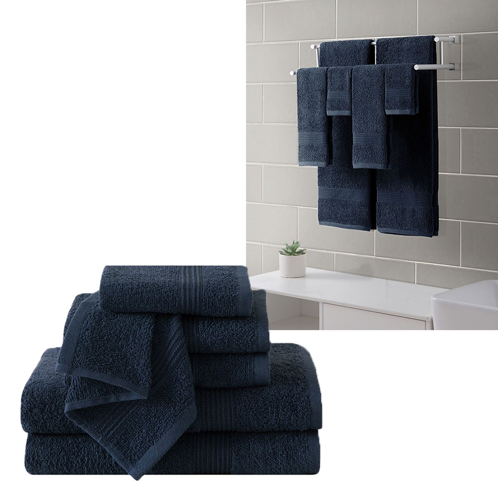 "Ribbed Luxury Bath Towel 6 Piece Set 100% Cotton, Navy Blue (2 Bath Towels 54"" x 27"", 2 Hand Towels 28"" x 16"" and 2 Wash Cloths 13"" x 13"")"