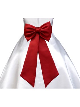 Wedding Satin Tiebow Sash Bow Tie Sash with Velcro Closure 2 pcs Set Bridal Flower Special Occasion Decoration Pageant Birthday Flower Accessory