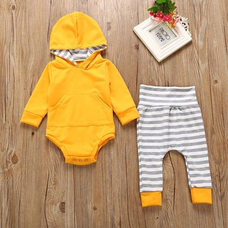 2dd1889d6 2pcs Newborn Infant Baby Boy Girl Hooded Sweater Romper Tops+Striped Long  Pants Outfit Clothing Set - Walmart.com